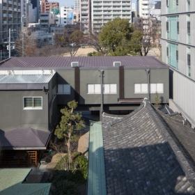 屋上よりお寺・堀江公園を見る。