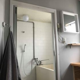 洗面室より浴室を見る