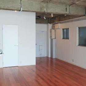 左の写真の反対側から撮りました。左の白い扉の中が洗面、トイレ、シャワーブースになっており、右側の白い扉が玄関です。