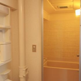 手前が洗面所、脱衣所、奥がお風呂です。脱衣スペースが広めにとられています。